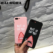 BALMORA Cartoon Shark Patten Case Cover Hard Silicone Shell Case Anti-knock Back Frosted Skin Case For iPhone 6 6s Plus 7 7Plus(China)
