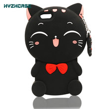 Phone Cases For Apple iPhone 6S Soft Silicon Shell Cartoon Cute Black Bow Cat With Pendant Shape Mobile Phone Back Cover