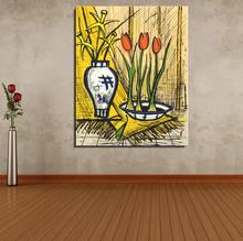 TWO BOUQUETS OF TULIPS AND DAFFODILS Flower Modern Bernard Buffet Oil Painting Spray Frameless Unframed Canvas not handmade