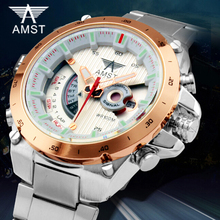 Best selling AMST Brand Men sports Outdoor Watches Army Military Calendar Stainless Steel waterproof business Men's Quartz Watch
