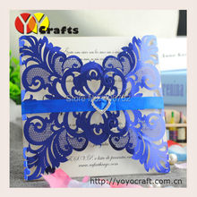 fancy metallic blue paper lace wedding invitation with heart buckle crystal embellishments
