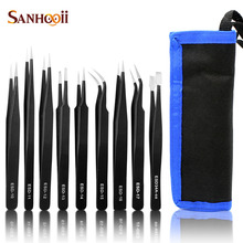 Sanhooii 9PCS ESD Stainless Steel Tweezers Kit Precision Anti-static Maintenance Tools for Electronics Jewelry Phone Repairing(China)