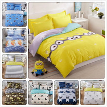 Boy Girl Creative Kid Minions Yellow Blue 4pcs Set Bed Sheet 1.5m 1.8m 2m 2.m Duvet Cover Pillowcase King Queen Twin Double Size(China)