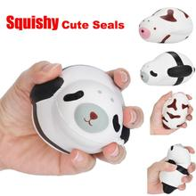 2 colors Novelty Funny Toys Elastic Environmentally PU Cute Squishy Slow Rising Animal Seal  Decompression Toys Gift Black Brown