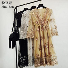 European station spring and summer new aristocratic temperament V neck embroidery sequins high waist Slim net yarn lace dress wo