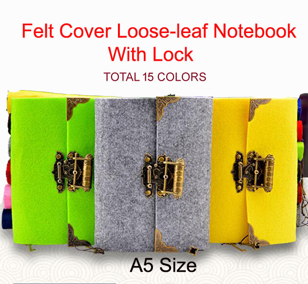 2017 15 colors felt cover retro creative Lock hand notebook Notepad diary stationery gift<br><br>Aliexpress