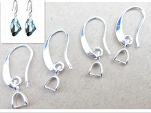 Free Ship DIY Wholesale 20X Lot Jewelry Findings 925 Silver Earring Bail Pinch Smooth Hook Ear Wires For Fine Crystal