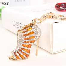 New Design Gold High Heel Shoe Keyring Cute Pendant Crystal Purse Bag Key Chain Women Girl Friend Lover Creative Gift(China)