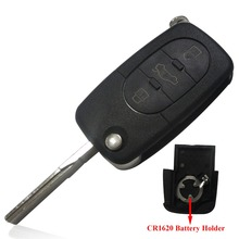 2015 Replacement Remote Key Case Fob 3 Buttons Uncut Blade for AUDI A2 A3 A4 A6 TT High Quality Wholesale 1620 battery holder