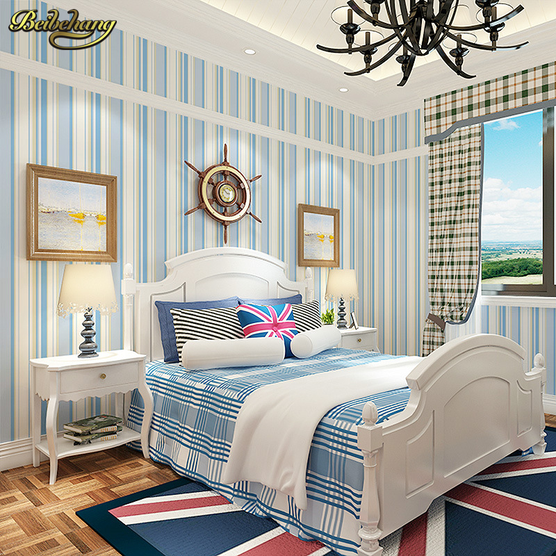 beibehang papel de parede Mediterranean blue simple modern vertical stripes wallpaper living room bedroom bedside background<br>