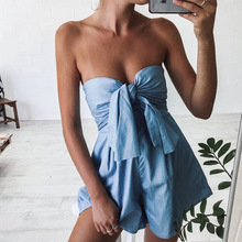 Bow tie pure sexy slim Jumpsuit skirt wrapped chest admin shorts