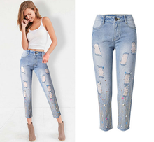Londinas Ark Store Women Fashion Jeans Ripped Hole Diamond Decoration High-Waist Pencil Pants Blue Color Wash Skinny Jeans