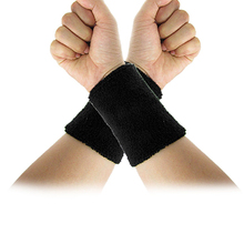 PROMOTION!Black Elastic Terry Wrist Sweatband Sports Support 2Pcs