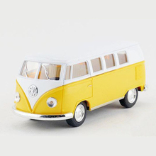 KINSMART 1:32 Diecast Metal Bus Toy Model, Classic Toys Car, Pull Back, Doors Openable