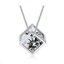 Women New Style  Happiness Rubik Cube Fashion Jewellery Cubic Zirconia Pendant Necklace Nice Party Accessories Gift