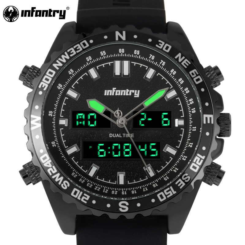 INFANTRY Men Sport Watch Relogio Masculino Waterproof Rubber Casual Quartz-watch For Analog Clock Dual Military Wristwatch<br>