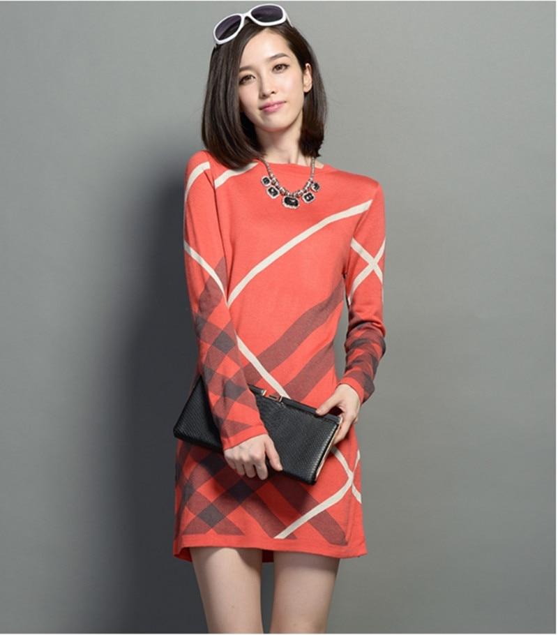 New 2017 Women Dress Autumn and Winter Womens Wool Knitted Large Size Long-sleeve Stripe One-piece Warm Wool Sweater DressÎäåæäà è àêñåññóàðû<br><br>