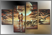 Sexy Sweetheart Sun Tree Oil Painting On Canvas 4 Panel Nude Arts Set Modern Home Abstract Wall Decor Picture for Living Room