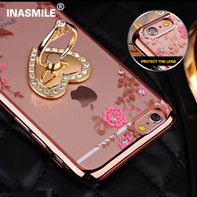 Fashion Secret Garden Ring clasp Flower Lace Pattern Soft Silicon TPU Phone case for iPhone 6 6S plus luxury Diamond Cases