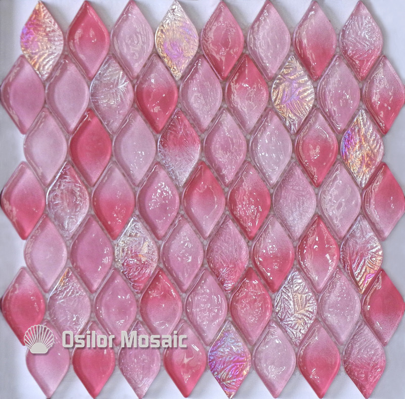 Free shipping rhombus pattern pink glass crystal mosaic tile for bathroom or living room wall tile<br>
