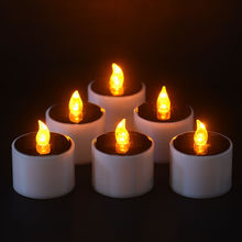 Solar Power LED Candle Light Romantic Candles-flameless Flicker Lamp 6 Pieces/set Outdoor candlelight dinner Solar candle lamp(China)