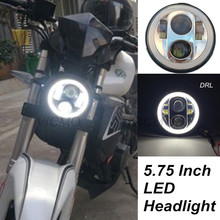 "5.75"" Angel Eye DRL Harley Parts Led Moto Headlight Harley Sportster 1200 72 48 883 Daymaker Projector LED Chrome Round Headlamp"