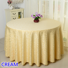 Cream colour jacquard table cloth damask pattern table cover for wedding hotel and round table linen decoration wholesale(China)