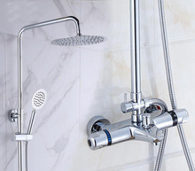 Buy Bathroom thermostatic shower faucet shower head set,Wall mount shower faucet mixer,Brass shower faucet thermostatic mixing valve for $64.55 in AliExpress store