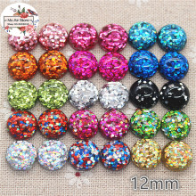 50pcs 12mm mix color shiny round Buttons Home Garden Crafts Cabochon Scrapbooking DIY Accessories