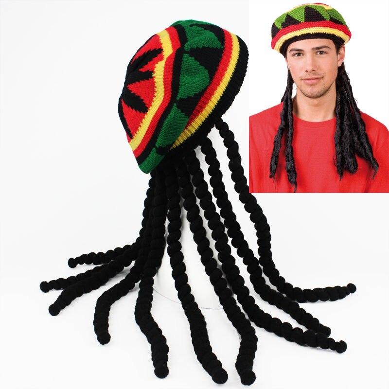 Compre Sombrero De Punto Jamaiquino De Rasta Con Peluca De Piedra ... c01b0720e64