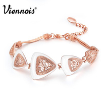 Viennois Silver/Rose Gold/Gun Color Vintage Bracelet for Women Triangular Charm Bracelets & Bangles Retro Hollow Out Bracelets(China)