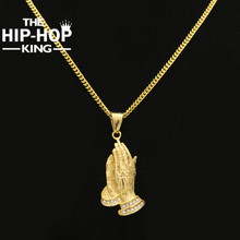 Buy Hip Hop Stainless Steel Prayer Charm Pendant Necklace Iced Crystal Praying Hands Cross Religious Necklace Men for $7.91 in AliExpress store