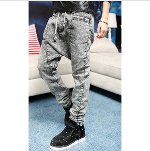 Fashion Korean Designer Brand Low Drop crotch Denim Jeans Pants Harem hip hop Long pants Slack baggy pants Stretch trousersОдежда и ак�е��уары<br><br><br>Aliexpress