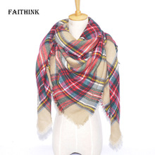 [FAITHINK] Za Winter Triangle Women Plaid Cashmere Scarf Wrap Luxury Brand Blanket Tartan Stole Warm Pashmina Shawls and Scarves