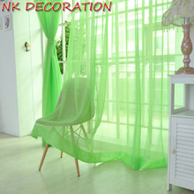 NK DECORATION 200*100cm Solid Color Chiffon Curtains Tulle Curtains Tulle Voile Curtains Window Panel Bedroom Decoration(China)