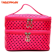 Fashion 2 Layers Waterproof Polyester Small Dots Makeup Bag Large Hanging Cosmetic Travel Bag Toiletry Bag for Home