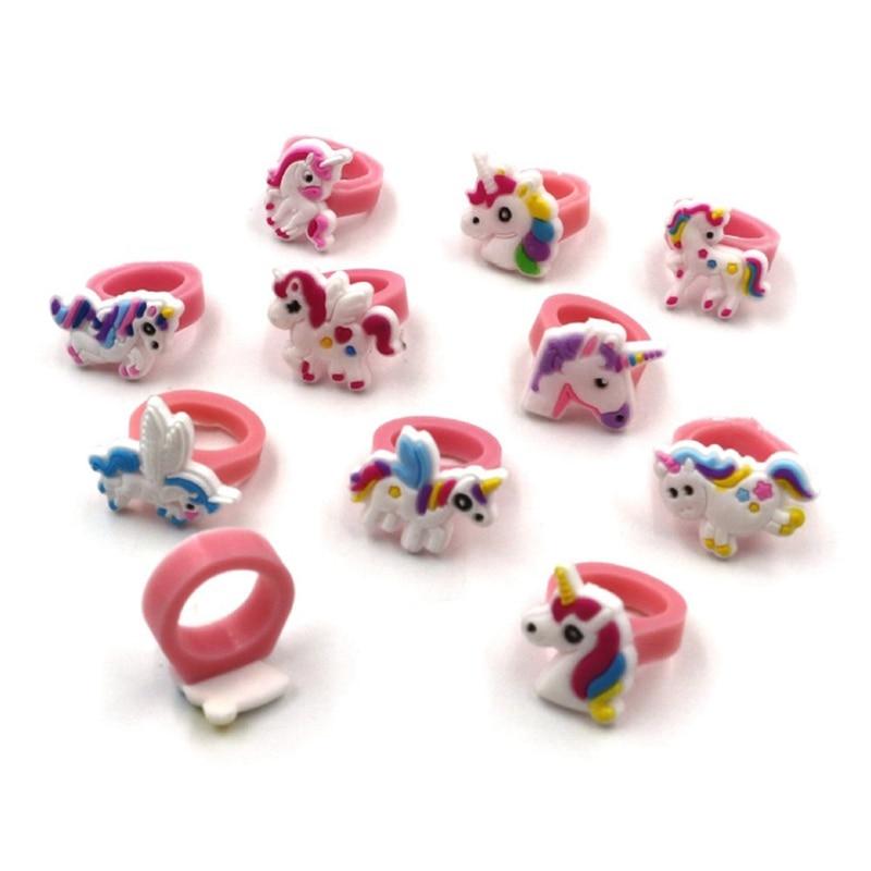 10Pcs Unicorn Horse Multicolor PVC Rings Cartoon Rings Mini Charm Jewelry Birthday Gift For Baby Kids Girl Children