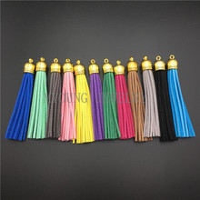 MY0808 Boho Leather Knot Tassels,85 mm Suede Tassels,Gold Tone Cap Tassel Charms, Cellphone Earrings Fringe Pendant Tassels(China)