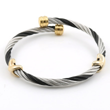 MSX Hot Sale Stainless Steel 9 Styles Heart Love Men Screw Bangles Cable Twisted Wire Adjustable Chain Cuff Bracelet Accessories
