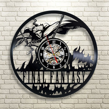 "Free Shipping 1Piece Final Fantasy Vinyl Record Digital Wall Clock 12"" 3D Classic Vintage Time Clock Room Decor For Game Players(China)"