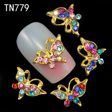 10pcs 3d nail art decoration colorful alloy nail butterfly decoration nail gel tools supplier sex product(China)