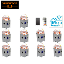 China Stage Light 10 pack Freedom Par 5 Color RGBWA Battery LED Light 15000 MAH Rechargeable Battery Built-in D-Fi Transceiver(China)