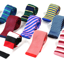 New Striped Knitted Mens ties Polyester Knit necktie for men Party Business Brand Handmade Cheap Neck Tie(China)