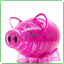 Cubic fun 3d puzzle DIY crystal piggy bank 2 color model building brinquedos educativos educational kids toys for children(China)