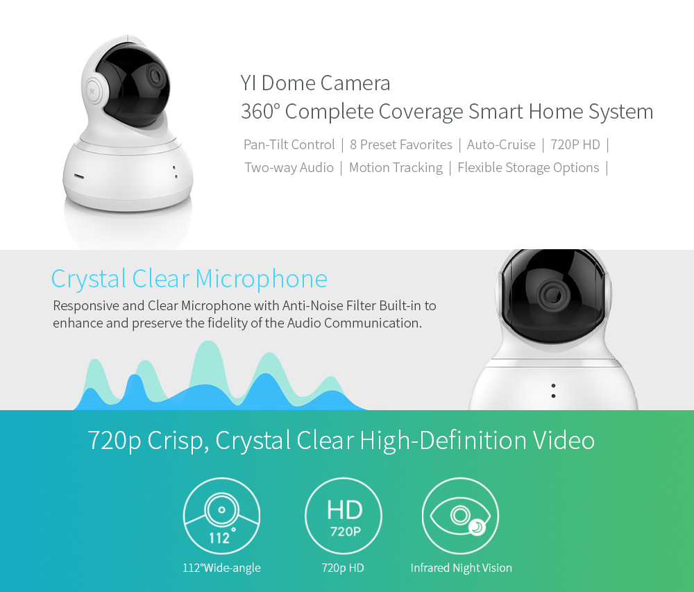 YI Dome Camera 720p Pan/Tilt/Zoom Wireless IP Security Surveillance System HD Night Vision (US / EU Edition) White Baby Monitor