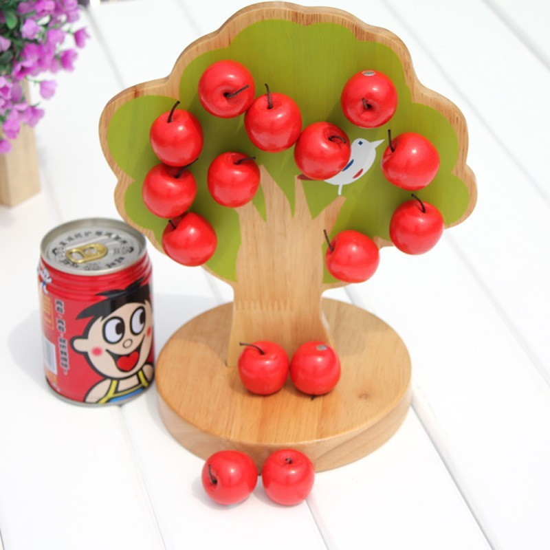 baby wooden Math learning Toy / Kids Child 3D puzzle Magnetic apple tree/ Montessori Early Education toys/ Christmas gifts<br>