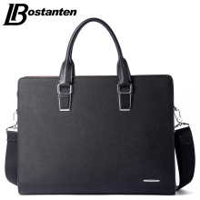 Bostanten New Men Split Leather Briefcase Laptop 13 inch Men Briefcase Business Bag Male Shoulder Bag Crossbody Bag Tote Handbag(China)