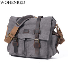 Vintage Men's Messenger Bags Leather Canvas Laptop Computer Shoulder Bag Military Large Capacity Satchel Travel Bags Crossbody(China)