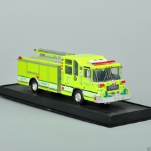 Model Toys 1:64 Yellow Fire Truck Diecast Car 1997 Pierce Quantum Pumper USA Free Shipping