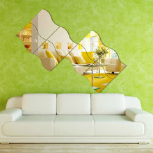 6PCS/Set DIY Creative Wave Mirror Wall Stickers Scratch Map Wall Decals Bedroom Livingroom Home Decor Accessories(China)